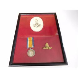 WWI CANADIAN MEDAL MOUNTED IN PORTRAIT FRAME