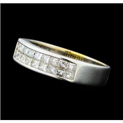 1.00 ctw Diamond Two Row Band - 18KT White Gold