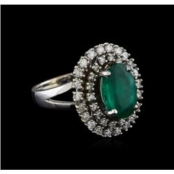 14KT White Gold 3.16 ctw Emerald and Diamond Ring