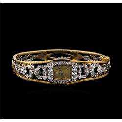 Hamilton 14KT Gold and Platinum 2.60 ctw Diamond Bangle Bracelet Watch