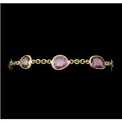 12.52 ctw Multi-Color Sapphire Bracelet - 18KT Yellow Gold