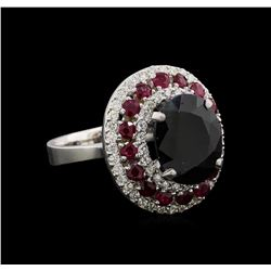14KT White Gold 6.45 ctw Sapphire, Ruby and Diamond Ring