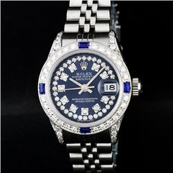 Rolex Stainless Steel Blue String Diamond VVS DateJust Watch