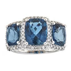 6.77 ctw London Blue Topaz and Diamond Ring - 14KT White Gold
