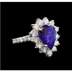 14KT White Gold 3.25 ctw Tanzanite and Diamond Ring