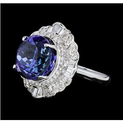 9.37 ctw Tanzanite And Diamond Ring - 18KT White Gold