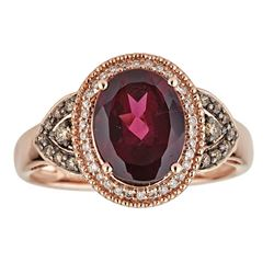 2.80 ctw Rhodolite and Diamond Ring - 14K Rose Gold