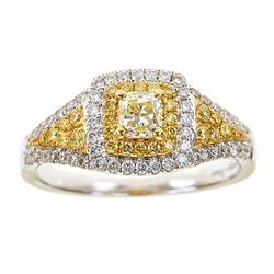 1.00 ctw Diamond Ring - 18KT White and Yellow Gold