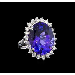 GIA Cert 11.40 ctw Tanzanite and Diamond Ring - 14KT White Gold