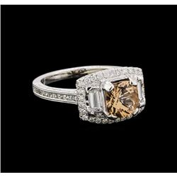 1.56 ctw Morganite and Diamond Ring - 18KT White Gold