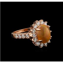 1.68 ctw Opal and Diamond Ring - 14KT Rose Gold