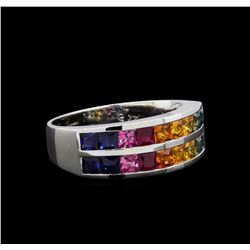 2.30 ctw Multi Color Sapphire and Diamond Ring - 14KT White Gold