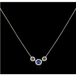 0.28 ctw Diamond Evil Eye Necklace - 14KT Yellow Gold