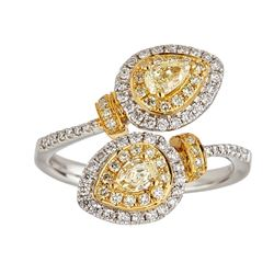 1.09 ctw Yellow and White Diamond Ring - 18KT White and Yellow Gold