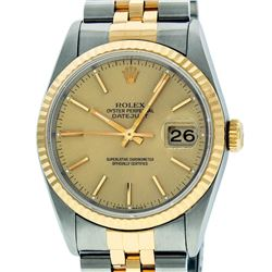 Rolex Mens 36mm Two Tone Yellow Gold Champagne IndexDateJust Wristwatch