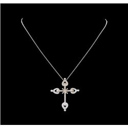 0.71 ctw Diamond Cross Pendant With Chain - 14KT White Gold
