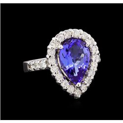 3.10 ctw Tanzanite and Diamond Ring - 14KT White Gold