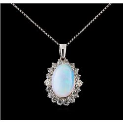 10.61 ctw Opal and Diamond Pendant With Chain - 14KT White Gold