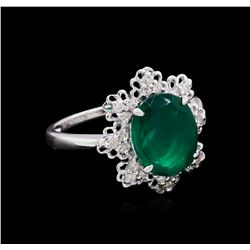 14KT White Gold 2.48 ctw Emerald and Diamond Ring