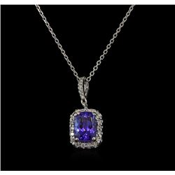 1.58 ctw Tanzanite and Diamond Pendant With Chain - 14KT White Gold
