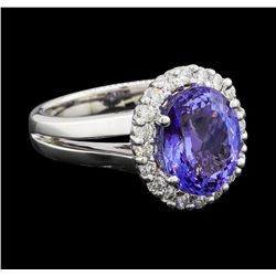 4.12 ctw Tanzanite and Diamond Ring - 14KT White Gold
