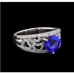 14KT White Gold 2.18 ctw Tanzanite and Diamond Ring