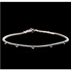 0.30 ctw Diamond Bangle Bracelet - 14KT White Gold