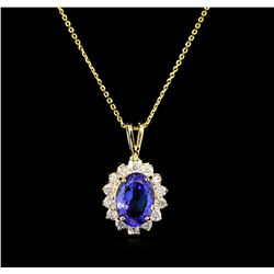 3.27 ctw Tanzanite and Diamond Pendant With Chain - 14KT Yellow Gold