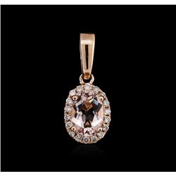 14KT Rose Gold 0.69 ctw Morganite and Diamond Pendant
