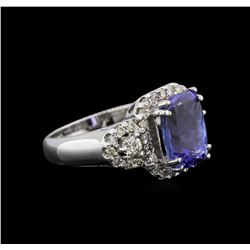 14KT White Gold 2.98 ctw Tanzanite and Diamond Ring