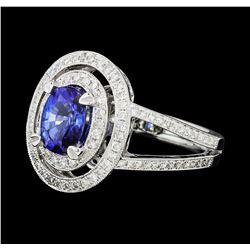 1.55 ctw Blue Sapphire And Diamond Ring - 18KT White Gold