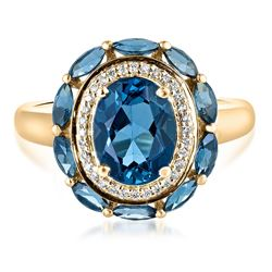 3.15 ctw Topaz and Diamond Ring - 10KT Yellow Gold