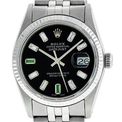 Rolex Mens 36mm Stainless Steel Black Diamond And Emerald Datejust Wristwatch