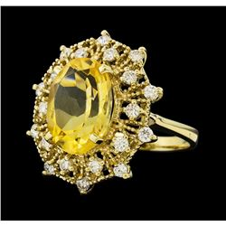 5.62 ctw Citrine Quartz  and Diamond Ring - 14KT Yellow  Gold