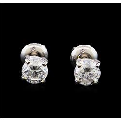 1.02 ctw Diamond Stud Earrings - 14KT White Gold