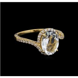 2.16 ctw Aquamarine and Diamond Ring - 14KT Yellow Gold
