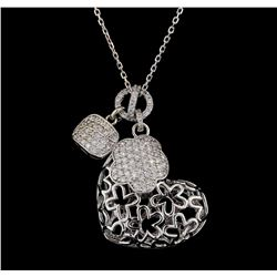 1.29 ctw Diamond Pendant With Chain - 14KT White Gold
