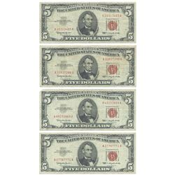 1963 $5 Fine Red Seal Bill Lot of 4