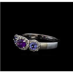 0.59 ctw Amethyst, Tanzanite, and Diamond Ring - 14KT White Gold