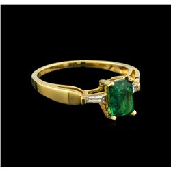 0.80 ctw Emerald and Diamond Ring - 14KT Yellow Gold