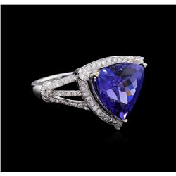 GIA Cert 7.39 ctw Tanzanite and Diamond Ring - 14KT White Gold