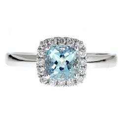 0.76 ctw Aquamarine and Diamond Ring - 14KT White Gold