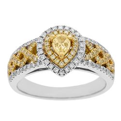 0.75 ctw Yellow and White Diamond Ring - 14KT White and Yellow Gold