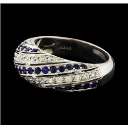 Sapphire and Diamond Ring - 18KT White Gold