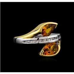 Crayola 2.20 ctw Citrine and White Sapphire Ring - .925 Silver