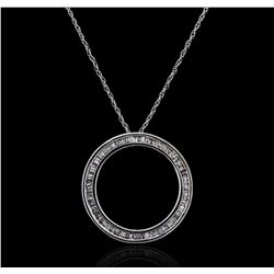 10KT White Gold 0.35 ctw Diamond Pendant With Chain