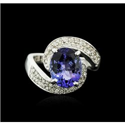 14KT White Gold 3.90 ctw Tanzanite and Diamond Ring