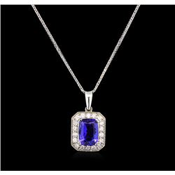 2.50 ctw Tanzanite and Diamond Pendant With Chain - 14KT White Gold