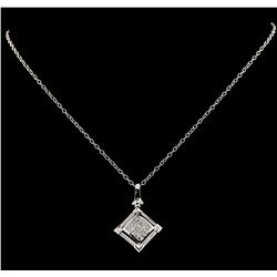 0.54 ctw Diamond Pendant With Chain - 14KT White Gold