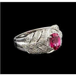 1.34 ctw Pink Tourmaline and Diamond Ring - 10KT White Gold